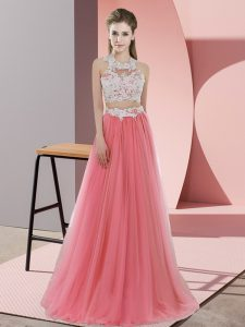 Chic Watermelon Red Halter Top Neckline Lace Quinceanera Court of Honor Dress Sleeveless Zipper