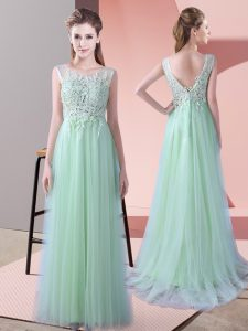 Fine Scoop Sleeveless Quinceanera Dama Dress Brush Train Beading and Lace Apple Green Tulle