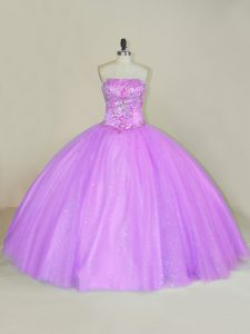Lilac Ball Gowns Sequins Quince Ball Gowns Lace Up Tulle Sleeveless Floor Length