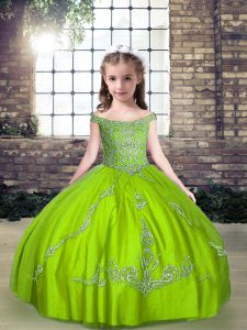 Floor Length Lace Up Little Girls Pageant Dress for Party and Wedding Party with Beading