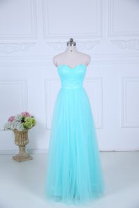 Aqua Blue Zipper Quinceanera Dama Dress Ruching Sleeveless Floor Length