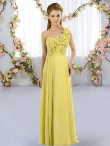 Custom Made Yellow Green Chiffon Lace Up Quinceanera Court Dresses Sleeveless Floor Length Hand Made Flower