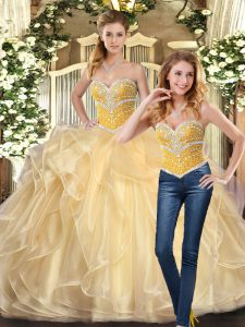 Champagne Sweetheart Neckline Beading and Ruffles 15th Birthday Dress Sleeveless Lace Up