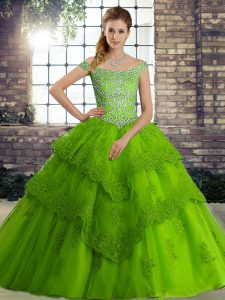 Most Popular Sleeveless Beading and Lace Lace Up Quinceanera Dresses with Green Brush Train