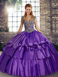 Sophisticated Floor Length Purple Sweet 16 Dress Taffeta Sleeveless Beading and Ruffled Layers