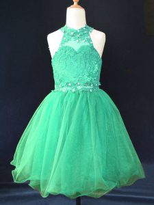 Fashion Green Sleeveless Beading and Lace Mini Length Kids Pageant Dress