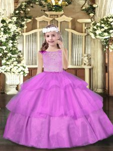 Ball Gowns Glitz Pageant Dress Lilac Scoop Organza Sleeveless Floor Length Zipper