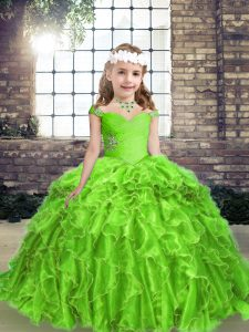Lace Up Pageant Dress for Teens Beading and Ruffles Sleeveless Floor Length