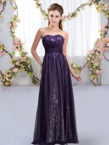 Delicate Dark Purple Sleeveless Floor Length Sequins Lace Up Damas Dress