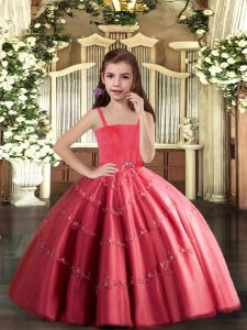 Low Price Coral Red Ball Gowns Beading Kids Pageant Dress Lace Up Tulle Sleeveless Floor Length