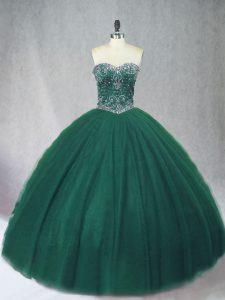 Flirting Dark Green Tulle Lace Up 15th Birthday Dress Sleeveless Floor Length Beading