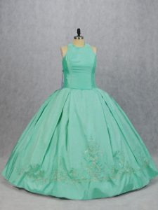 Floor Length Apple Green Quinceanera Gown Satin Sleeveless Embroidery
