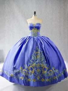Sophisticated Floor Length Lace Up Ball Gown Prom Dress Purple for Sweet 16 and Quinceanera with Embroidery