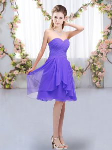 Captivating Empire Vestidos de Damas Lavender Sweetheart Chiffon Sleeveless Knee Length Lace Up