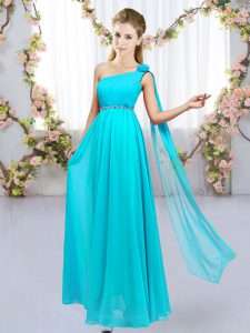 Excellent Floor Length Lace Up Quinceanera Court Dresses Aqua Blue for Wedding Party with Beading and Hand Made Flower