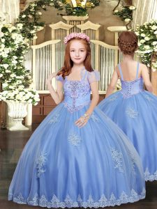 Admirable Straps Sleeveless Lace Up Child Pageant Dress Baby Blue Tulle