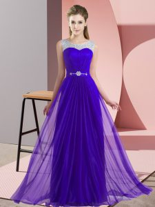 Empire Quinceanera Court of Honor Dress Purple Scoop Chiffon Sleeveless Floor Length Lace Up