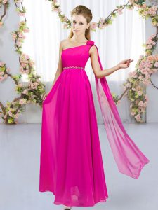 Delicate Sleeveless Chiffon Floor Length Lace Up Quinceanera Dama Dress in Hot Pink with Beading and Hand Made Flower