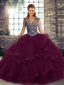 Beauteous Dark Purple Sleeveless Floor Length Beading and Ruffles Lace Up Quince Ball Gowns