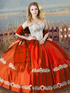Orange Red Lace Up Quince Ball Gowns Beading and Embroidery Sleeveless Floor Length