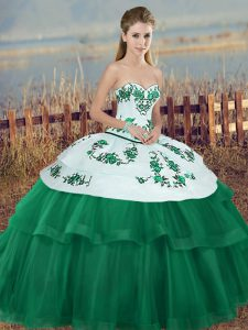 Glorious Green Sweetheart Neckline Embroidery and Bowknot 15 Quinceanera Dress Sleeveless Lace Up