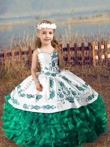 Smart Dark Green Sleeveless Embroidery and Ruffles Floor Length High School Pageant Dress