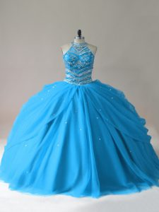 Enchanting Baby Blue Tulle Lace Up Quince Ball Gowns Sleeveless Floor Length Beading