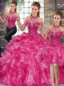Simple Floor Length Three Pieces Sleeveless Fuchsia 15th Birthday Dress Lace Up
