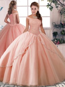 Custom Made Tulle Off The Shoulder Sleeveless Brush Train Lace Up Beading Quinceanera Gowns in Peach