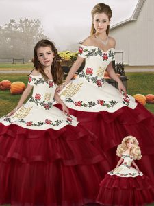 Fantastic Wine Red Sleeveless Brush Train Embroidery and Ruffled Layers Sweet 16 Dresses