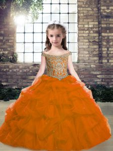 Orange Red Organza Lace Up Kids Pageant Dress Sleeveless Floor Length Beading