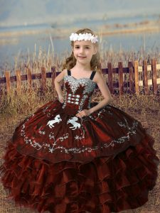 Beautiful Rust Red Straps Neckline Embroidery and Ruffled Layers Winning Pageant Gowns Sleeveless Lace Up