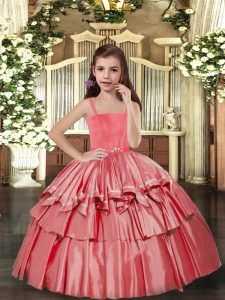 Best Ruffled Layers Pageant Dress for Teens Coral Red Lace Up Sleeveless Floor Length