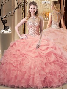 Peach Organza Zipper Ball Gown Prom Dress Sleeveless Floor Length Beading and Ruffles