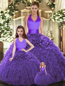 Floor Length Lace Up Sweet 16 Dresses Purple for Sweet 16 and Quinceanera with Ruffles