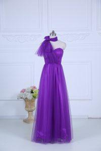 Best Halter Top Sleeveless Dama Dress for Quinceanera Floor Length Ruching Eggplant Purple Tulle