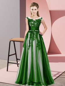 Adorable Green Tulle Zipper Quinceanera Court Dresses Sleeveless Floor Length Beading and Lace