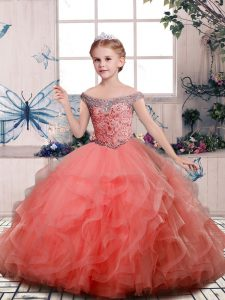 Off The Shoulder Sleeveless Lace Up Little Girls Pageant Gowns Peach Tulle