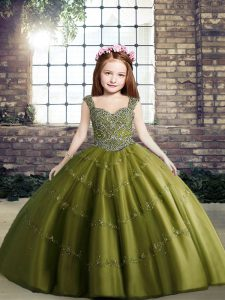 Most Popular Olive Green Lace Up Little Girl Pageant Gowns Beading Sleeveless Floor Length