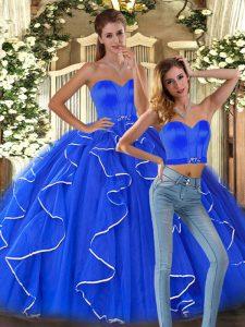 Traditional Floor Length Blue 15 Quinceanera Dress Tulle Sleeveless Ruffles