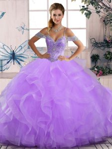 Flirting Floor Length Lace Up Vestidos de Quinceanera Lavender for Sweet 16 and Quinceanera with Beading and Ruffles
