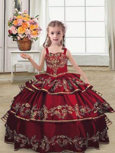 On Sale Burgundy Sleeveless Embroidery and Ruffled Layers Floor Length Girls Pageant Dresses