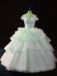 Apple Green Sleeveless Organza Brush Train Lace Up Ball Gown Prom Dress