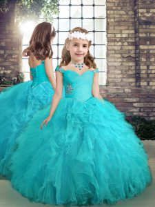 Aqua Blue Pageant Gowns For Girls Party and Wedding Party with Beading and Ruffles Straps Sleeveless Lace Up