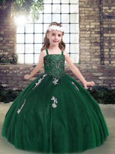 Tulle Sleeveless Floor Length Girls Pageant Dresses and Appliques