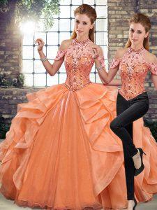 Glittering Orange Sleeveless Beading and Ruffles Floor Length Quinceanera Gowns