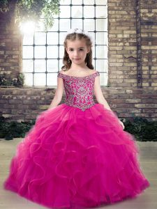 Elegant Fuchsia Tulle Lace Up Off The Shoulder Sleeveless Floor Length Little Girl Pageant Dress Beading and Ruffles