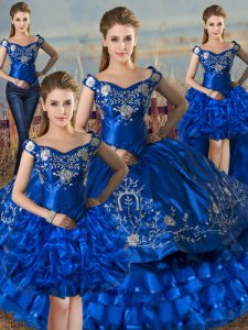 Luxurious Ball Gowns Quinceanera Dress Royal Blue Off The Shoulder Satin and Organza Sleeveless Floor Length Lace Up