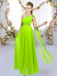 Nice Yellow Green One Shoulder Neckline Beading and Hand Made Flower Quinceanera Court Dresses Sleeveless Lace Up
