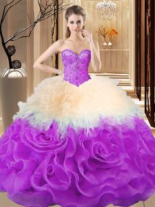 Floor Length Ball Gowns Sleeveless Multi-color 15th Birthday Dress Lace Up